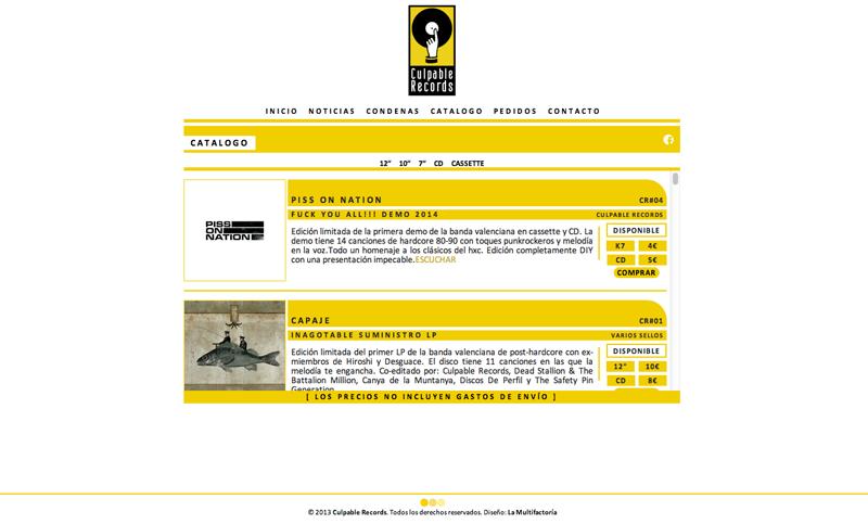 ▲ CULPABLE RECORDS WEB [2013].